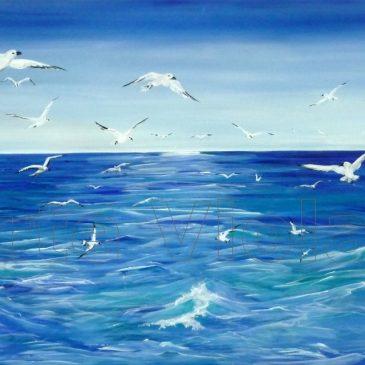 Gabbiani dipinto di Violetta Viola Arte ViolaV