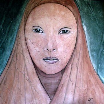 """Dipinto """" Terra """" di Violetta Viola – un viso di donna"""