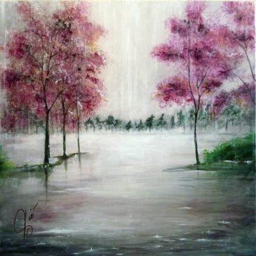 """Dipinto """" … e poi il nulla … """" di Violetta Viola – paesaggio piovano"""