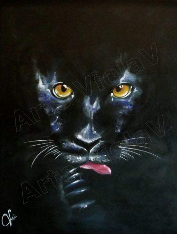 ritratto pantera nera con filigrana arte violav violetta viola